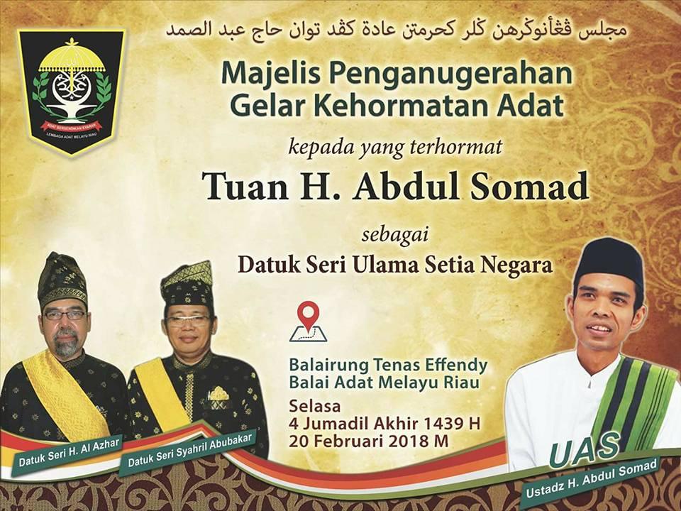 Ustaz Somad akan Terima Gelar Datuk Seri Ulama Setia Negara