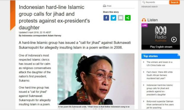 "Harian Australia Juluki Pendemo Sukmawati ""Muslim Garis Keras"""