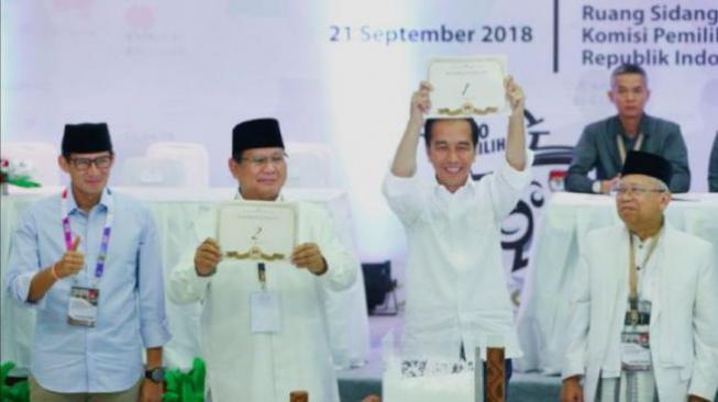 Jokowi Nomor Urut 01, Prabowo Nomor 02 di Pilpres 2019