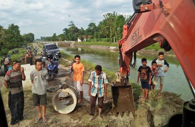Protes Kades, Puluhan Petani Bangsongan Gotong Royong Perbaiki Irigasi