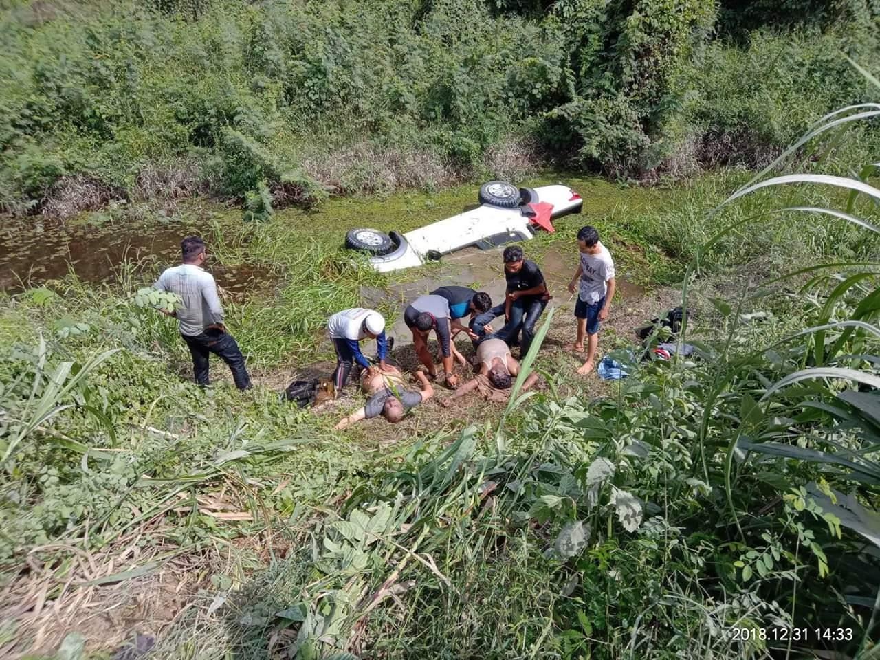 Nikung Kelajuan,  Mobil Nyebur Rawa, Dua WNA India Tewas di Desa Sebelimbingan