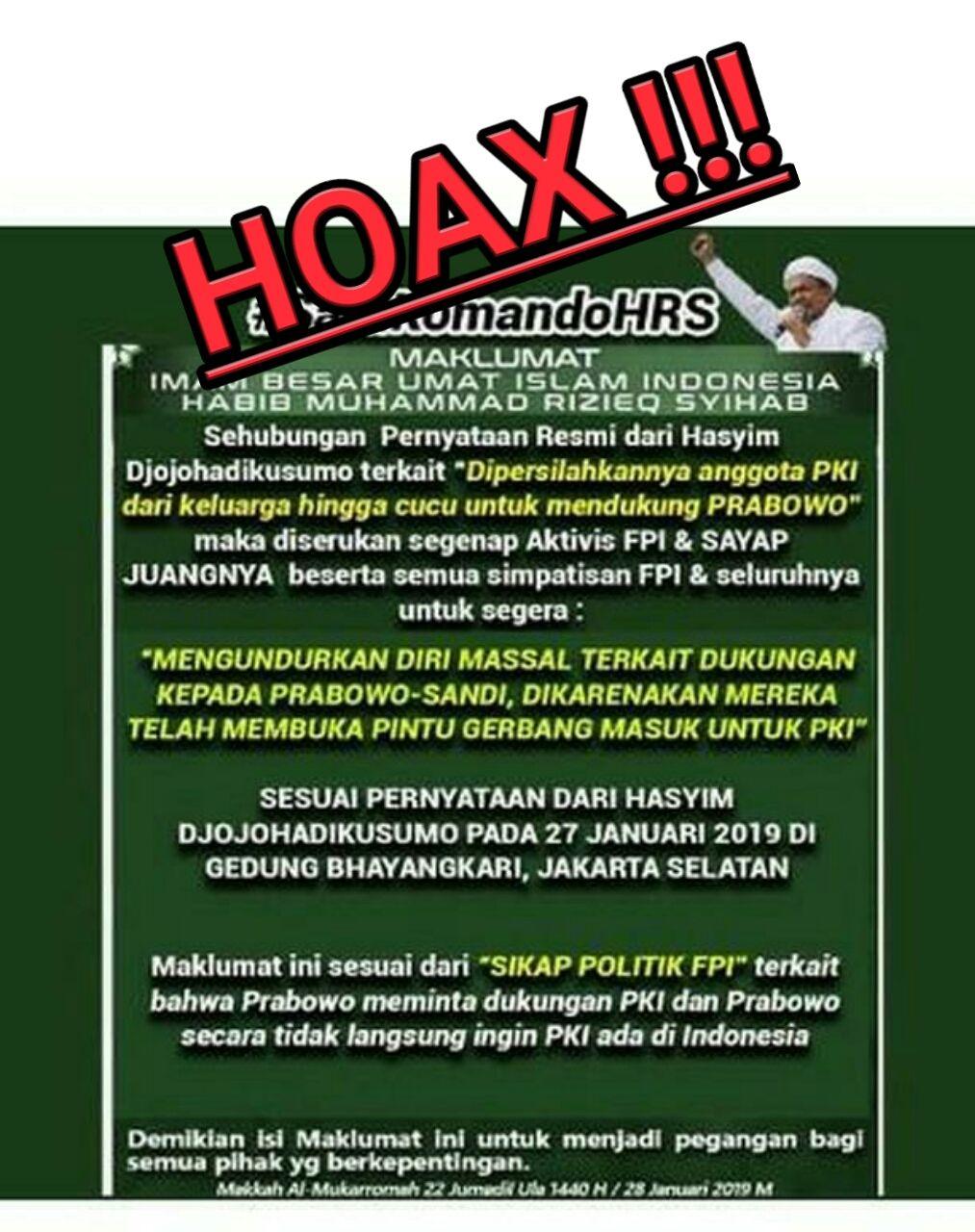 FPI : Maklumat Habib Rizieq Tinggalkan Prabowo-Sandi Itu Hoaks