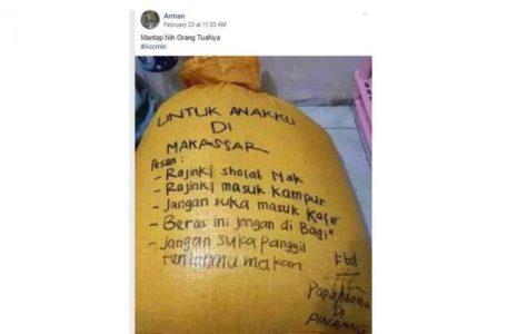 Kiriman Beras dari Orangtua Ini Penuh Nasihat, Netizen Malah Ketawa