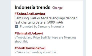 """Pendukung Prabowo """"Menang"""",  Tagar #UninstallJokowi dan #ShutDownJokowi  Jadi Trending Topic, Ini Penyebabnya"""
