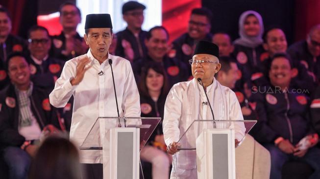Jokowi Sarankan Ma'ruf Amin Tenang Saat Debat Pilpres Ketiga