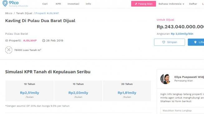Pulau Dua Barat Kepulauan Seribu Dijual Rp 243 Miliar di Jual Beli Online