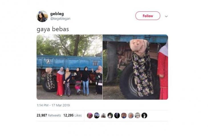 Gaya Bergelantungan Wanita Ini Saat Foto Curi Perhatian Netizen
