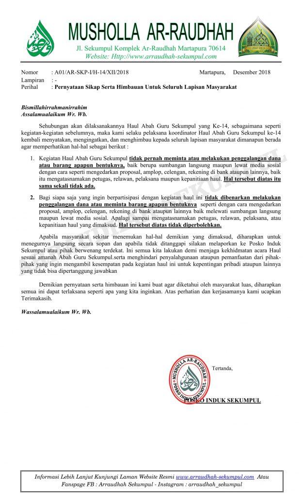 Jamaah Haul Abah Guru Sekumpul Dilarang Meminta-minta Sumbangan