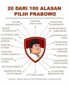 Balas 17 Alasan Pilih Jokowi, Netizen Sodorkan 20 Alasan Pilih Prabowo
