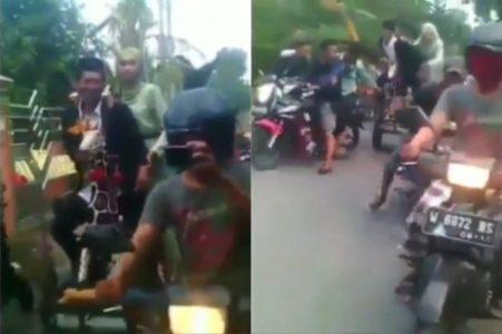 Seru, Sepasang Penganten Konvoi Motor Usai Ijab Qabul,  Tonton Videonya
