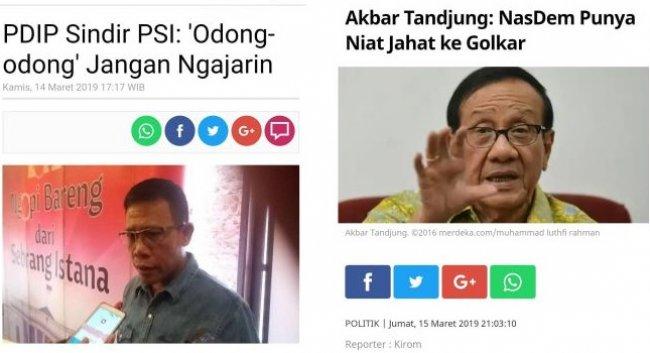 Belum Lagi Terpilih, Kubu Jokowi Berkelahi ; PSI vs PDIP, Golkar vs Nasdem, dan PPP vs PKB