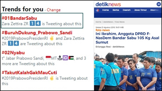 Perang Tagar : Kubu 01 Lambungkan #02Nyabu, Serangan Balik #01BandarSabu Puncaki Trending Topic