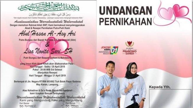 Ini Jadinya Kalau Pendukung Jokowi dan Prabowo Nikah, Undangannya Unik