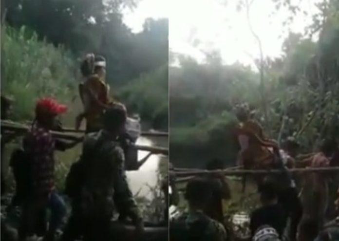 Ditandu Lewati Jembatan kayu, Perjuangan Pengantin Wanita untuk Acara Pernikahan ini Ngeri-Ngeri Sedap