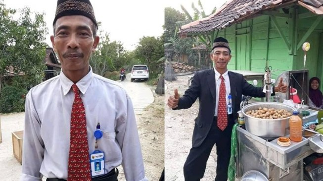 Seperti Pegawai Kantoran, Rapi Pakai Jas, Dasi dan Peci, Lelaki Ini Penjual Pentol Keliling