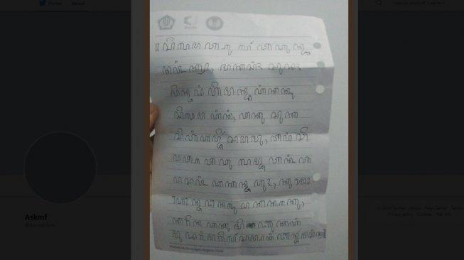 Surat Bertuliskan Aksara Jawa Ini Isinya Bikin Baper