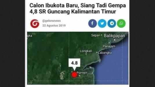 CEK FAKTA: Gempa 4,8 SR Guncang Daerah Calon Ibu Kota Baru, Benarkah?