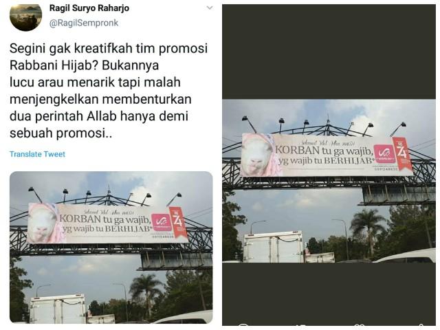 Viral Sebuah Baliho Iklan Pakai Foto 'Kambing Berhijab'