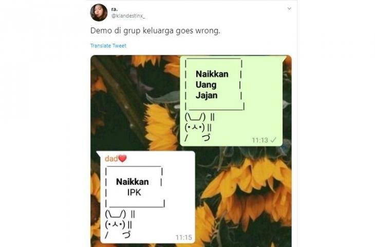 Demo di Grup WhatsApp Keluarga, Netizen Ini Diprotes Balik Ayahnya