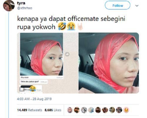 Viral! Lupa Pakai Hijab, Muslimah Ini Pakai Kantong Kresek