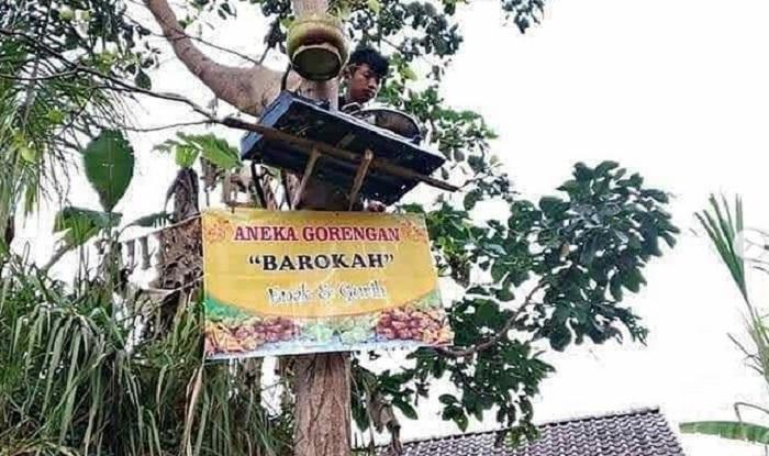 """Viral Penjual Gorengan di Atas Pohon,  """" Ada yang Tau Lokasinya Pengin Gua Tabok  Wkwkw …"""""""