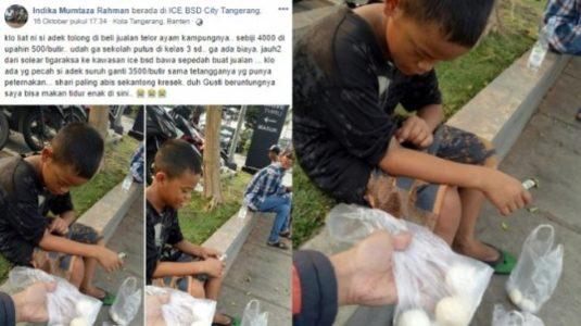 Kisah Viral Anak Putus Sekolah, Jual Telur Dapat Upah Rp 500, Kalau Pecah Ganti Rp 3500