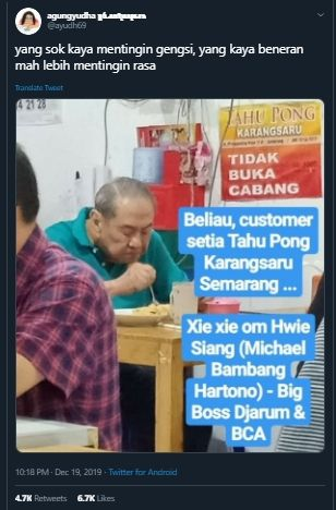 Orang Terkaya Di Negeri Ini,  Boss Djarum sekaligus pemilik Bank BCA Makannya di Warung Biasa Saja