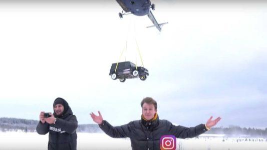 Pria Rusia Ini Jatuhkan Mobil Mercedes Benz  Rp5 Miliar dari Helikopter, Karena Mobilnya Sering Mogok