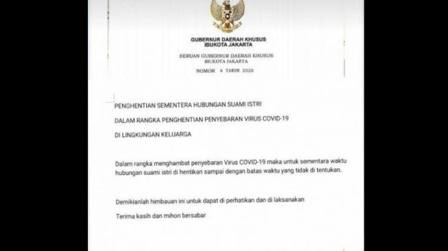 Hoaks : Beredar Seruan Gubernur DKI Penghentian Hubungan Suami Istri