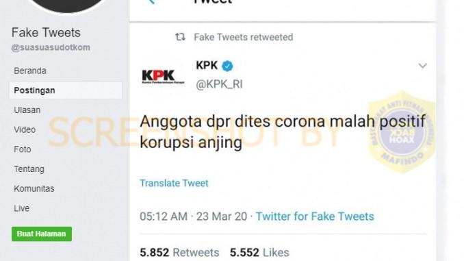 "TWEET PALSU ) Foto tweet KPK : ""Anggota DPR dites corona malah positif korupsi anjing"""