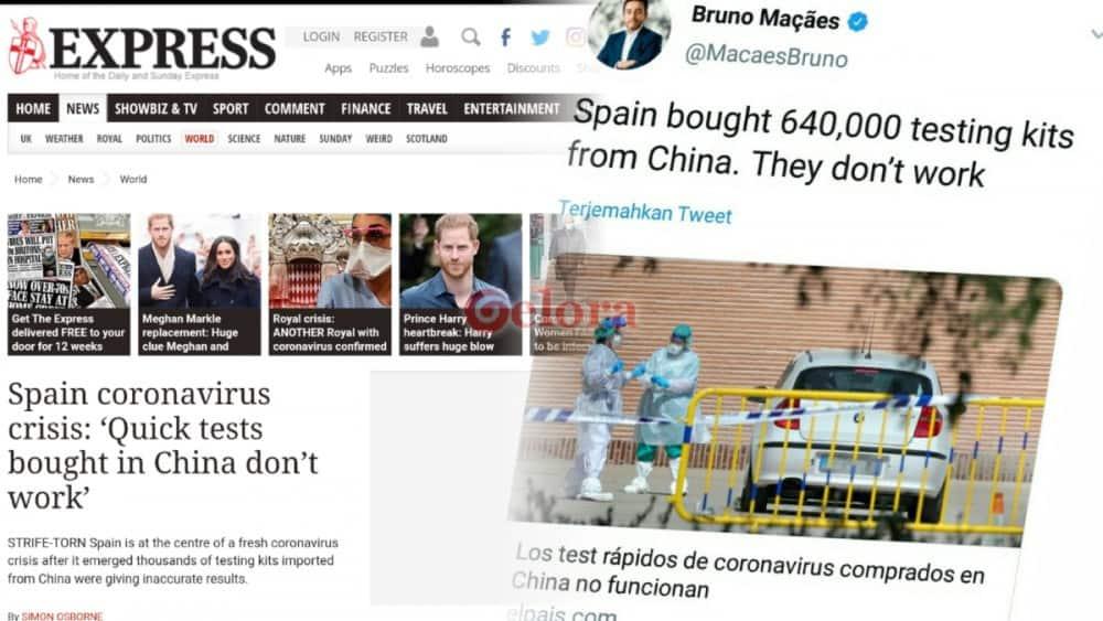 Alat Tes Cepat yang Dibeli Spanyol dari China Gagal Mendeteksi Kasus Positif Corona