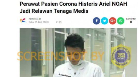 CEK FAKTA: Benarkah Ariel Noah Jadi Relawan Medis Tangani Pasien Corona?