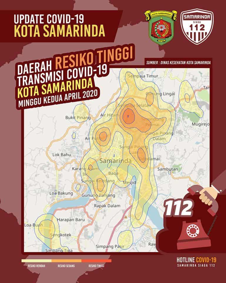 Info Grafis Daerah RISIKO TINGGI Transmisi Covid-19 Kota Samarinda Minggu kedua April 2020