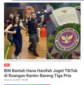 """Konten Menyesatkan, Video """"Tik Tok Hana Hanifah di Kantor Berlogo BIN"""""""